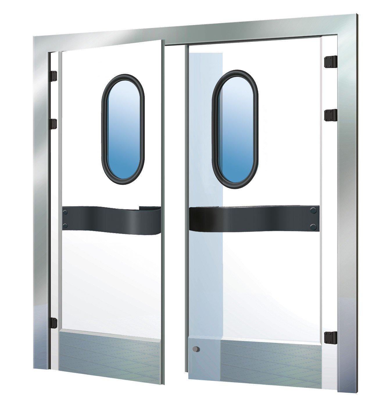 маятниковая дверь,маятниковая дверь купить,маятниковое открывание дверей,маятниковая дверь цена,маятниковые стеклянные двери, Маятниковая дверь двухстворчатая цена и описание